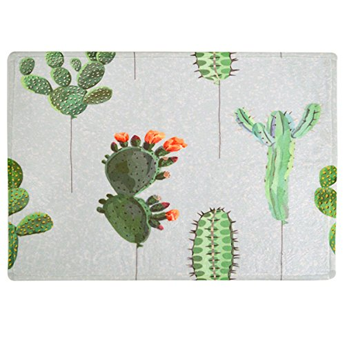 Clara Cactus Flowers Pattern Bath Rug Non-Slip Shower Mat Machine Washable Bath Floor Mat(58×40 cm/22.8×15.7 in)
