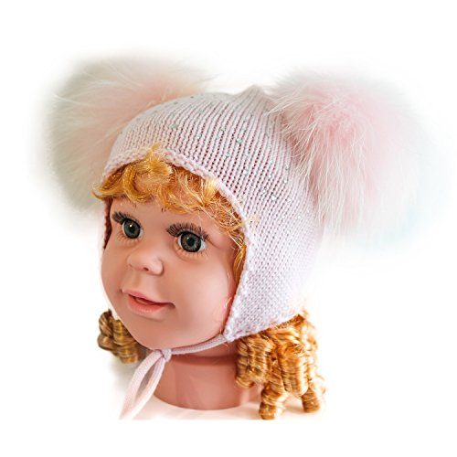 girls-pink-knitted-woolen-beanie-rhinestone-caps-with-two-fox-fur-pompoms