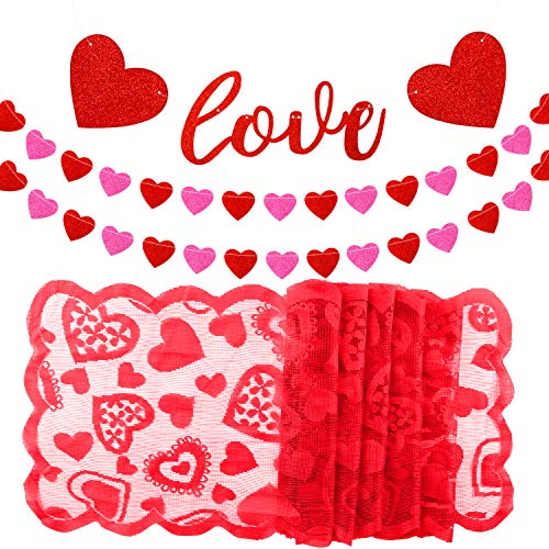 TUPARKA Love Heart Garland Banner with Red Heart Lace Table Runner for Valentine's Day Decoration Home Wedding, Bridal Shower, Bachelorette Party Decoration Supplies