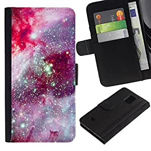 All Phone Most Case / Oferta Especial Cáscara Funda de cuero Monedero Cubierta de proteccion Caso / Wallet Case for Samsung Galaxy S5 Mini, SM-G800 // Cosmos Space Purple Stars