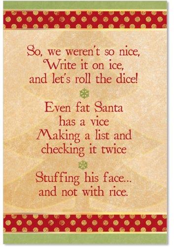 Bad Santa Merry Christmas - B1838 Box Set of 12 Box of Naughty or Nice Christmas Funny Christmas Greeting Cards; with Envelopes
