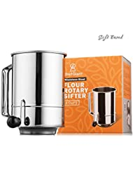 ChefGiant Flour Sifter Stainless Steel 5 Cup Rotary Hand Crank, Baking Sugar Sifter with 16 Fine Mesh Screen, Corrosion Resistant - Bake & Decorate Cakes, Pies, Pastries, Cupcakes