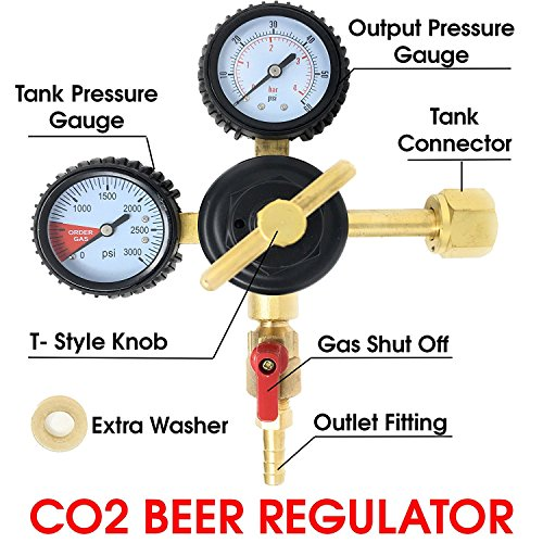 Co2 Beer Regulator Pressure Kegerator Heavy Duty Features T-Style Adjusting Handle - 0 to 60 PSI-0 to 3000 Tank (Chained Handle)