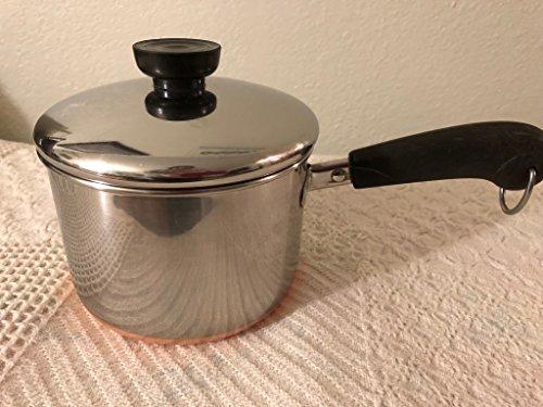 Vtg Revere Ware SS Copper Bottom 1 1/2qt Double Ring Saucepan