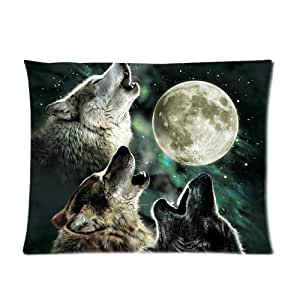 Fierce Animal Three Wolf Dreamy Fantacy Blurred Galaxy Moon Background Personalized Custom Soft Pillow Case Cover 20X26 (One Side)