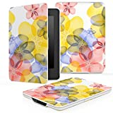 MoKo Case for Kindle Paperwhite, Premium Thinnest and Lightest PU Leather Cover with Auto Wake / Sleep for Amazon All-New Kindle Paperwhite (Fits 2012, 2013, 2015 and 2016 Versions), Floral BLUE