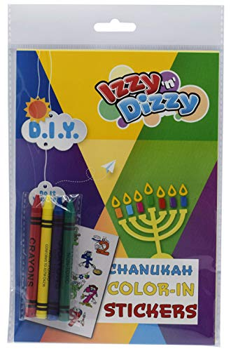 Izzy 'n' Dizzy Hanukkah Color-in Stickers Art Kit - Includes 8
