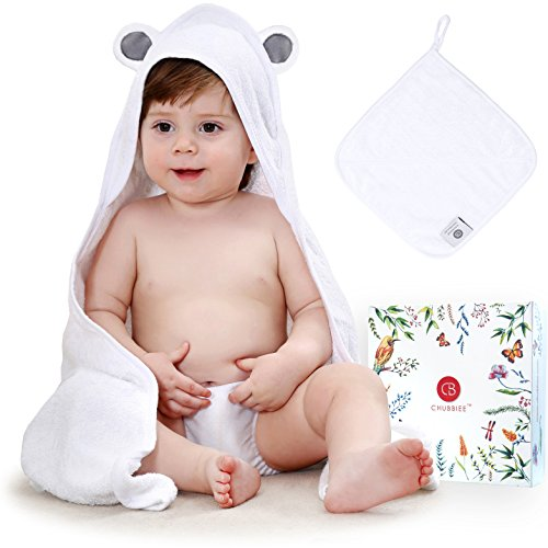 Premium 100% Organic Bamboo Baby Hooded Towel and Washcloth Gift Set, Extra (Organic Hooded Towel Set)