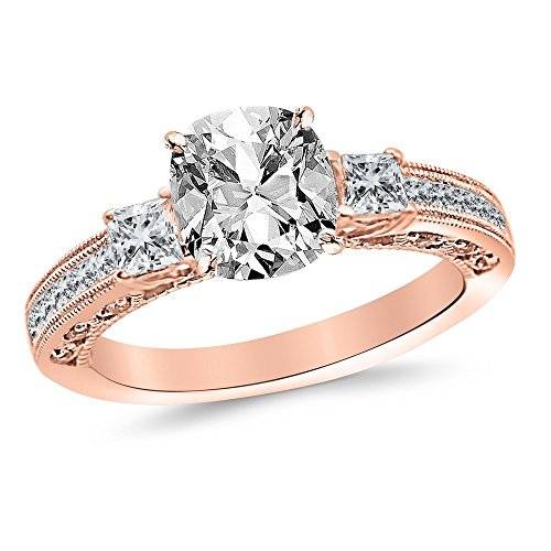 1.5 Ctw 14K Rose Gold Three 3 Stone Princess Cut Channel Set GIA Certified Diamond Engagement Ring Cushion Cut (1 Ct F Color VVS2 Clarity Center Stone)