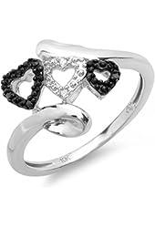 0.05 Carat (ctw) 10k White Gold Black & White Diamond Ladies Promise 3 Hearts Love Engagement 2 Tone Ring