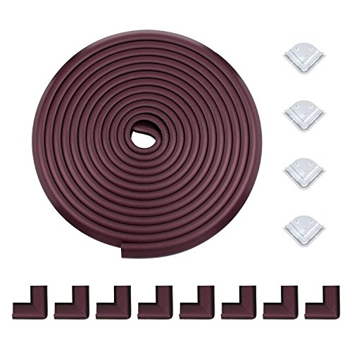 Meiqicool Safe Edge and Corner Guard Set | Furniture Edge Safety Bumpers for Baby | Cushion Foam Protector Kit for Toddlers | 20ft Edge + 12 Corners, Brown, F200804Z by meiqicool (Image #3)
