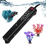 SZELAM 25W Smart Mini Aquarium Heater, Betta Fish Tank Heater Thermostat Warmer Submersible Anti-Explosion/Energy-efficient Water Temp Controller - 3 Artificial Plants Include