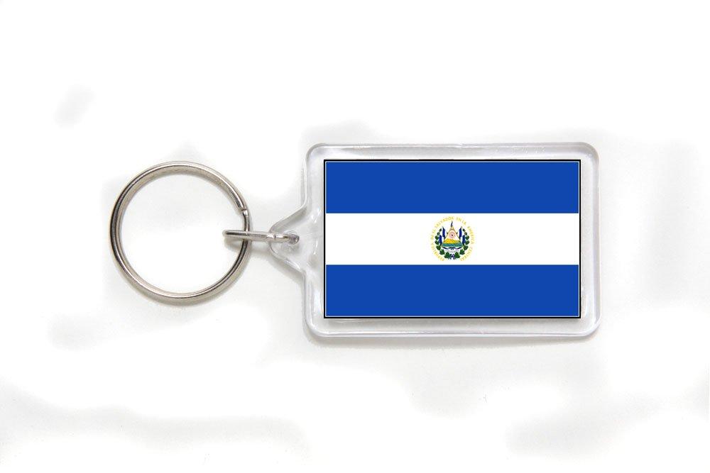El Salvador Salvadorian Salvadorean Salvadoran Flag Double Sided Acrylic Key Ring Small