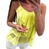 Sexy Women Tops Chiffon Fashion Casual Solid Backless Camis Chiffon Ruffles Tank Tops Vest Yellow