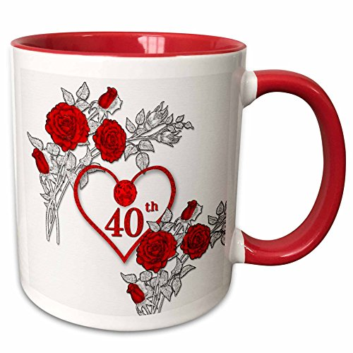 Ruby Anniversary Rose Wedding (3dRose mug_264586_5 Red Heart and Roses 40th Ruby Anniversary for Wedding Or Business Ceramic, 11 oz, Red/White)