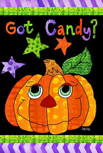 Toland Home Garden Got Candy 28 x 40 Inch Decorative Colorful Halloween Pumpkin House Flag ()
