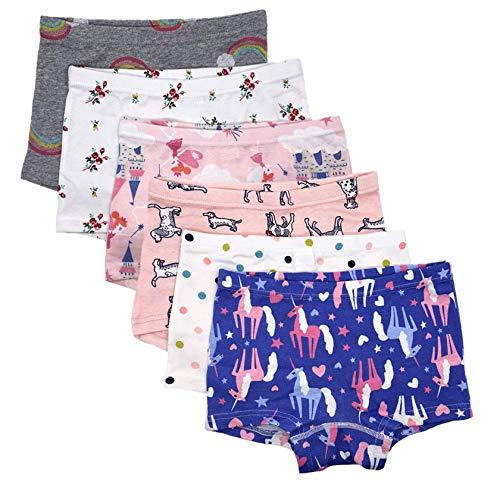 Czofnjesi Girls Underwear Cotton Kids Boyshort Toddler Assorted Panties 5 or 6 Pack (C-6 Pack, 3-5 Years)