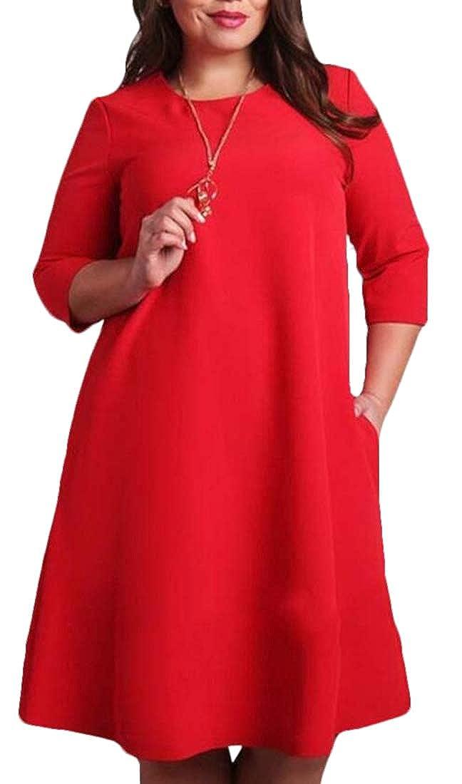 BYWX Women Plus Size Loose Fit Half Sleeve T-Shirt Loose Midi Dress