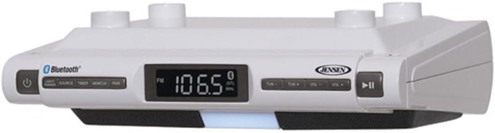 Jensen Bluetooth Wireless Under The Cabinet Kitchen Clock Radio Music System