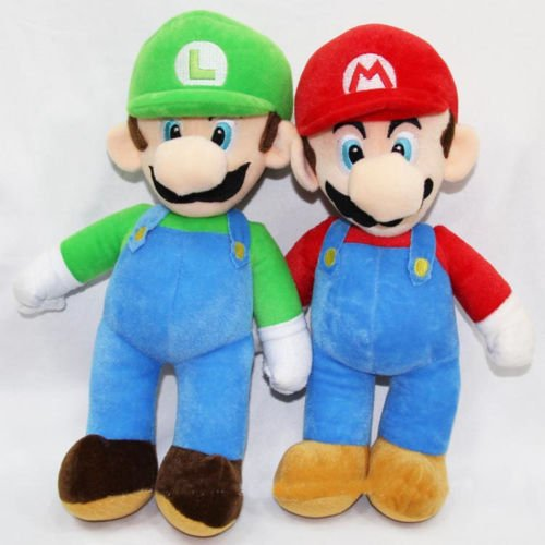 [2PCS/Set Super Mario Plush Toys LUIGI & MARIO Doll Stuffed Animals Toy 10