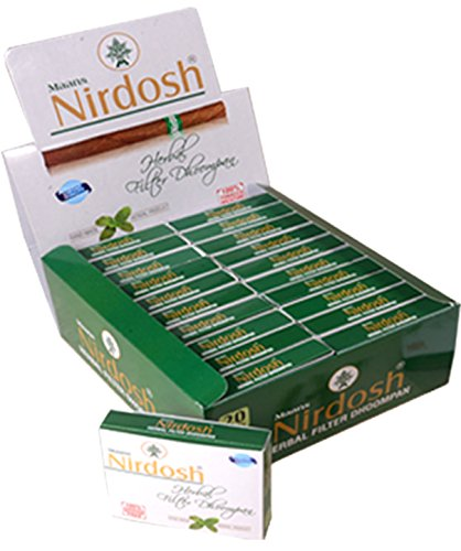 Nirdosh Herbal No Nicotine   Tobacco Cigarettes With Filter    5 Packs 20 Cigarettes Per Pack