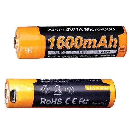 Fenix ARB-L14-1600U Flashlights, USB Rechargeable Li-Ion 14500 Battery