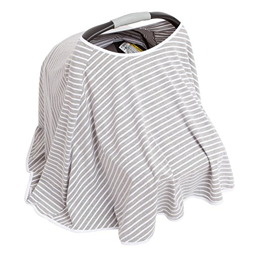 360° FULL COVERAGE Nursing Cover for Breastfeeding - Luxurious, Soft Breathable Cotton in Poncho Style (Gray Stripe) by EN Babies (Image #3)
