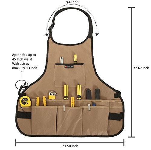 JM-capricorns 600D Oxford Cloth Heavy Duty Work Apron, Adjustable and Durable Tool Aprons - Khaki