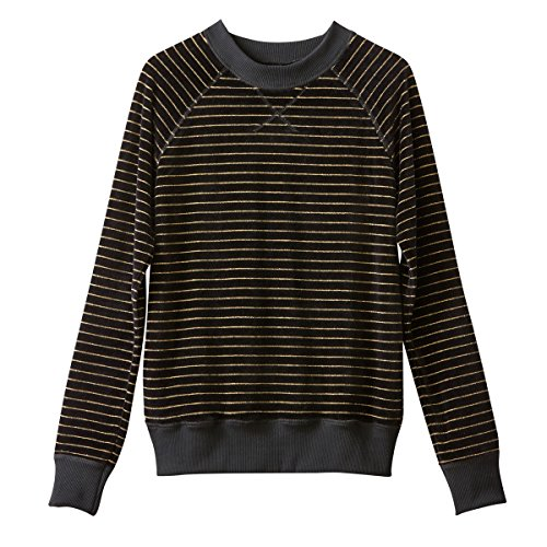 ed04340ebbe6e La Redoute Collections Womens Striped Velour Sweatshirt Black Size M