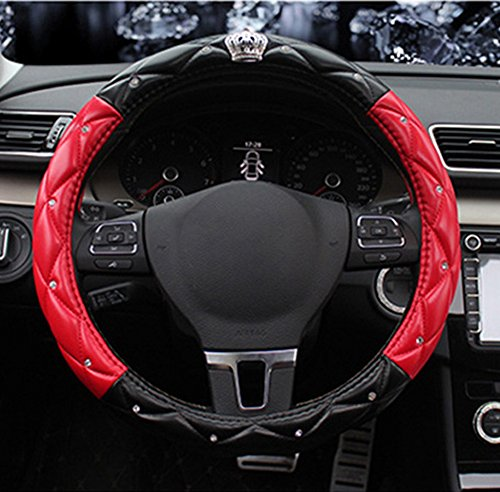 BAIMIL Car Steering Wheel Cover Universal Cystal Crown PU Leather DAD Diamond Steering Wheel Cover 15 inch Black & Red ()