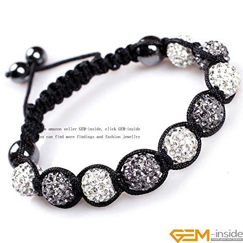 GEM-inside Clear Gray Grey 2 Color Pave Shine Crystal Beads Hand-Woven Bracelet Adjustable