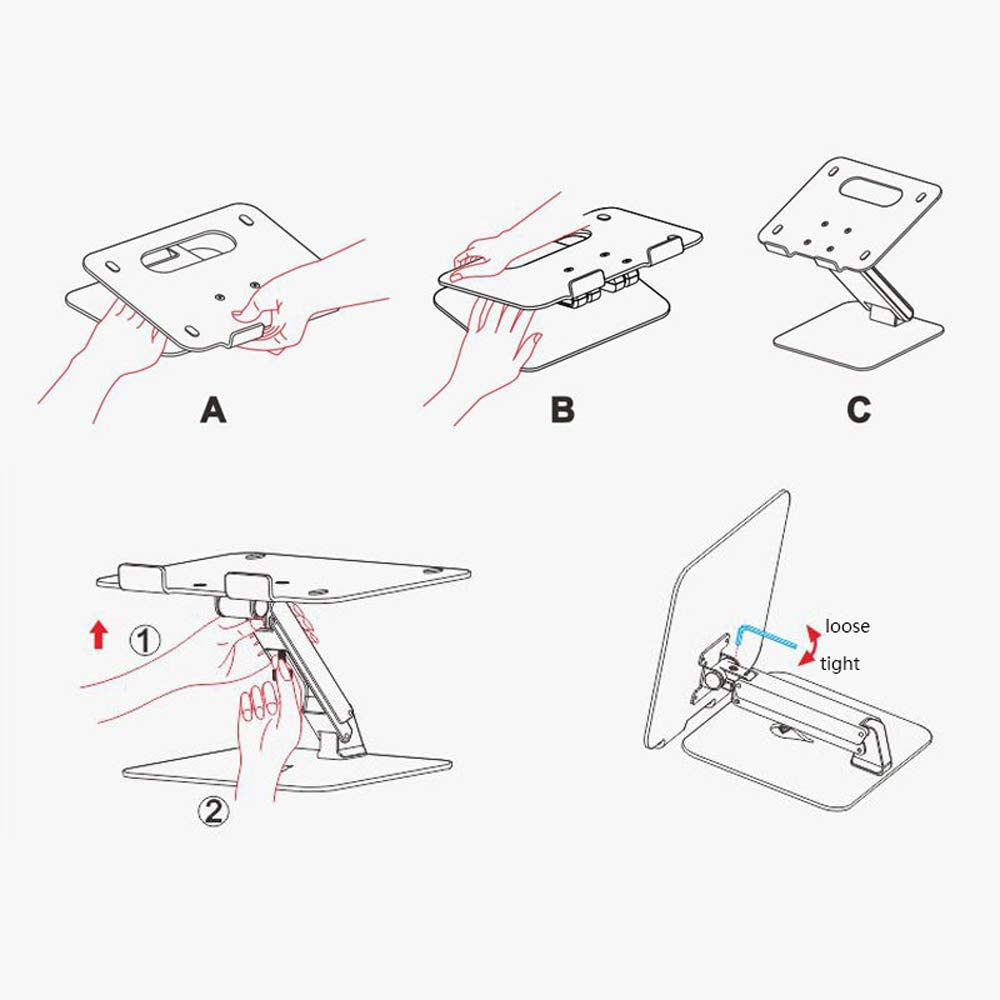 0-180/° Angle Adjustment YangXu Laptop Stand Aluminum//Silicone 3 Styles Simple Office Portable Foldable Lifting Protection Cervical Portable Metal Cooling Board Storage Rack Silicone Non-Slip