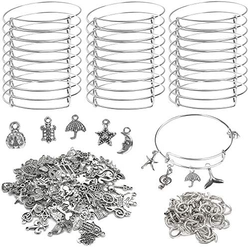 40Pcs Silver Expandable Blank Bracelets Adjustable Wire Bangles with 100Pcs Tibetan Silver Charms Pendants 300Pcs Open Jump Rings for Jewelry Making for Jewelry Making and Crafting