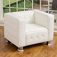 Decco Modern White Leather Club Chair