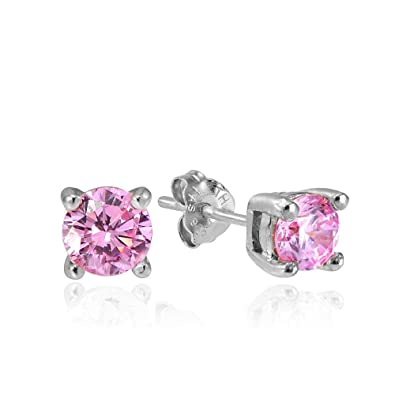 dcd8be6b42ddc Hoops & Loops Sterling Silver Pink Cubic Zirconia Round Stud Earrings All  Sizes