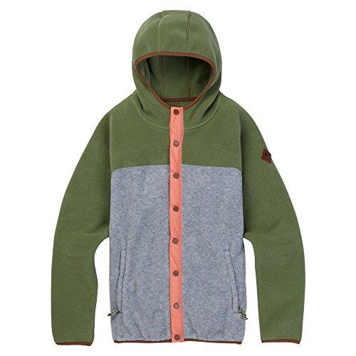 Burton Womens Hearth Fleece Snap Hoodie 2018, Clover/Gray Heather, S - Jacket Hooded Burton Fleece