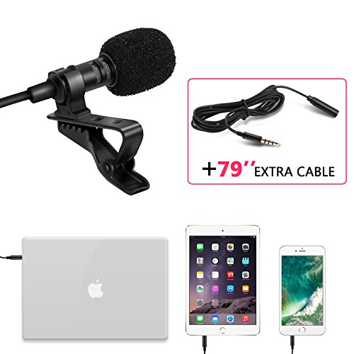 Lavalier Lapel Microphone, Amoner Omnidirectional Mic with Easy Clip On System for Macbook PC iPhone All Smartphones, Perfect for Recording Youtube/Skype/Interviews/Video Conference and more(Black)