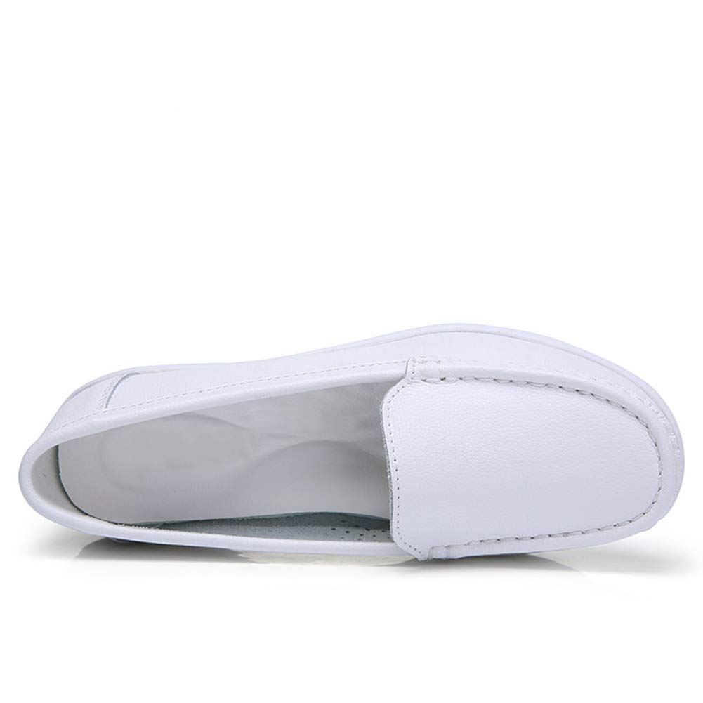6b0fd0cd4db ZYEN Women s Comfortable Nursing Shoes All White Leather Nurses Slip On Work  Medical Loafers  Amazon.ca  Shoes   Handbags
