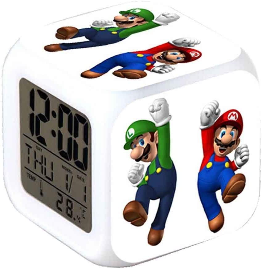 ASLNSONG Super Mario Bros 7 Colors Change Digital Alarm Clock with Time, Temperature, Alarm, Date (A)