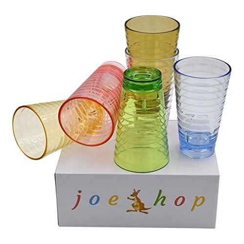 s Plastic glasses/ Tumblers/Premium Quality BPA-Free Break-Resistant cups/ Microwave/Dishwasher Safe Hot/Cold Drinks Set of 6 in Six Assorted Vibrant Colors ()