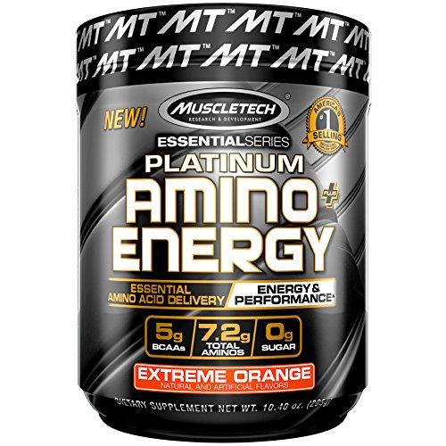 MuscleTech Essential Series Platinum Amino Plus Energy BCAA Powder, Extreme Orange, 10.40 Ounce, 30 Serving