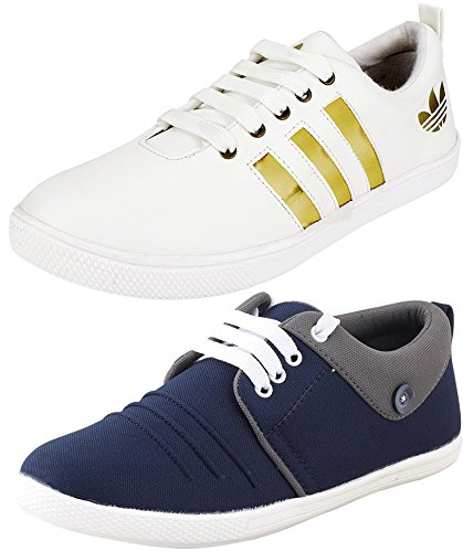 9fbffc8cde8c05 ETHICS Perfect Mens White & Blue Sneakers Combo Pack: Buy Online at ...