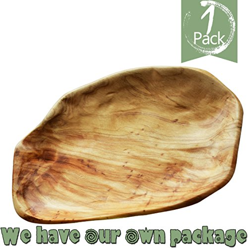 HIZBO MART Root Wood Party Platter and Tray, Sandwich Serving Wooden Bread Bowl, Hand Carved Artworks (11-12.5 inch)