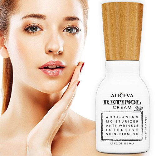 Aliceva Retinol Moisturizer Cream for Face and Eye Area - 2.5% Retinol and Hyaluronic Acid, Organic Jojoba Oil, Green Tea - Best for Anti Wrinkle, Anti Aging, Fine Lines