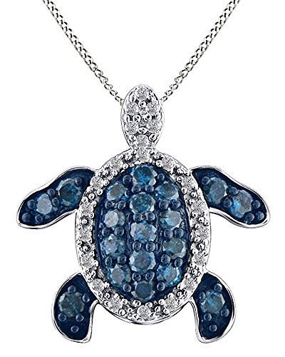 Jewel Zone US Round-Cut Blue White Natural Diamond Prong Set Turtle Pendant Necklace 14k White Gold Over Sterling ()