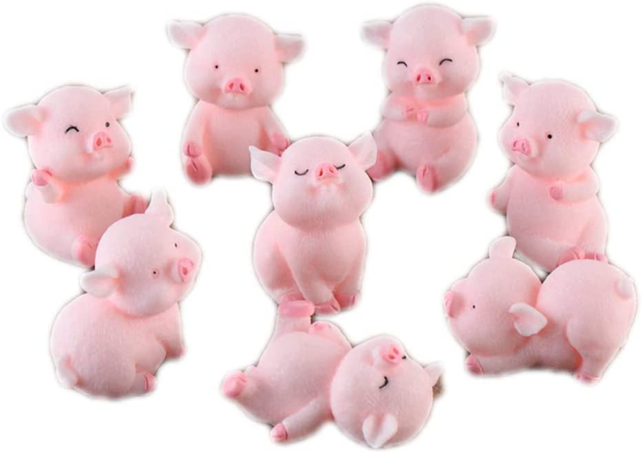 8pcs Miniature Pig Figurines, Cute Piggy Toy Figures Cake Toppers Fairy Garden Dollhouse Bonsai Micro Landscape Christmas Decor