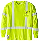 Carhartt Men's Big & Tall Flame Resistant High Visibility Long Sleeve T-Shirt Class 3,Brite Lime,XX-Large Tall