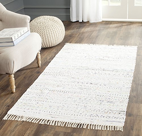 Safavieh Rag Rug Collection RAR121G Hand Woven Ivory and Multi Cotton Area Rug (3' x 5')