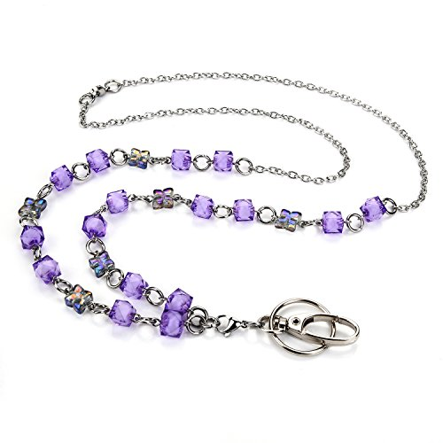 LUXIANDA Purple Crystal Beads Lanyard for Nurse, teacher and OL, unique Design office lanyard For ID Keys, Badge holder, Stainless steel chain by LUXIANDA
