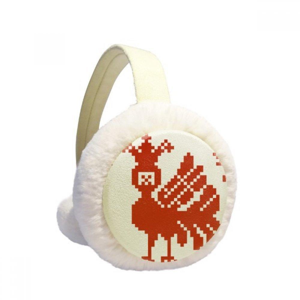 Red Mosaic Animal Trees Russia Winter Earmuffs Ear Warmers Faux Fur Foldable Plush Outdoor Gift
